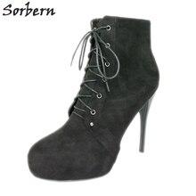 ec40424ca Sorbern الأسود الكاحل قصيرة أحذية النساء مخصصة عالية كعب أحذية النساء  التمهيد الشتاء نمط منصة السيدات