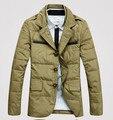 Nuevo 2015 grueso chaqueta caliente del invierno hombre abrigo parka abajo abrigos chaquetas casuales cuello alto outerwear50