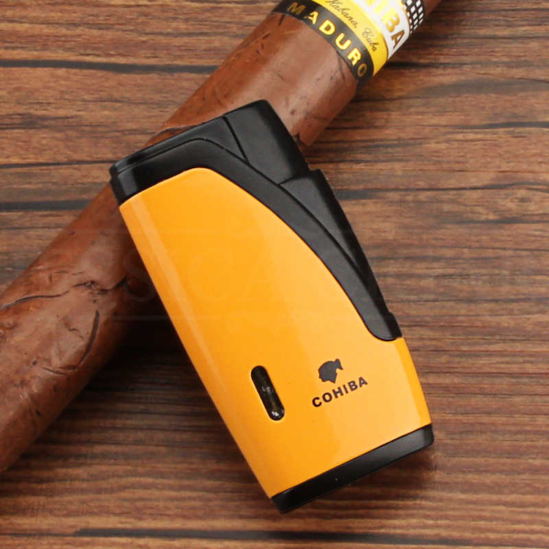 COHIBA металлическая коробка для Сигар Зажигалка 2 Jet факел зажигалка бутан автоприкуриватель Зажигалки ветрозащитные зажигалки с сигаретным резаком