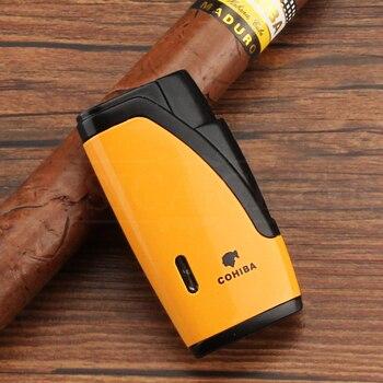 COHIBA Sigaro Del Metallo Più Leggero 2 Jet Torch Lighter Butano Ricaricabile Gas Accendini Antivento Accendini Con Cigar Cutter