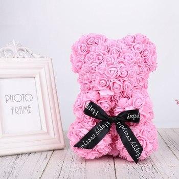 25 Cm Handgemachte Kunstliche Rose Blume Teddybar Valentinstag