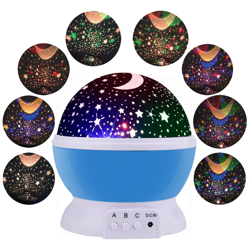FÜHRTE Drehenden Star Projektor Neuheit Beleuchtung Mondhimmel Rotation Kinder Baby Kindergarten Nachtlicht Batteriebetriebene Notfall Lampe