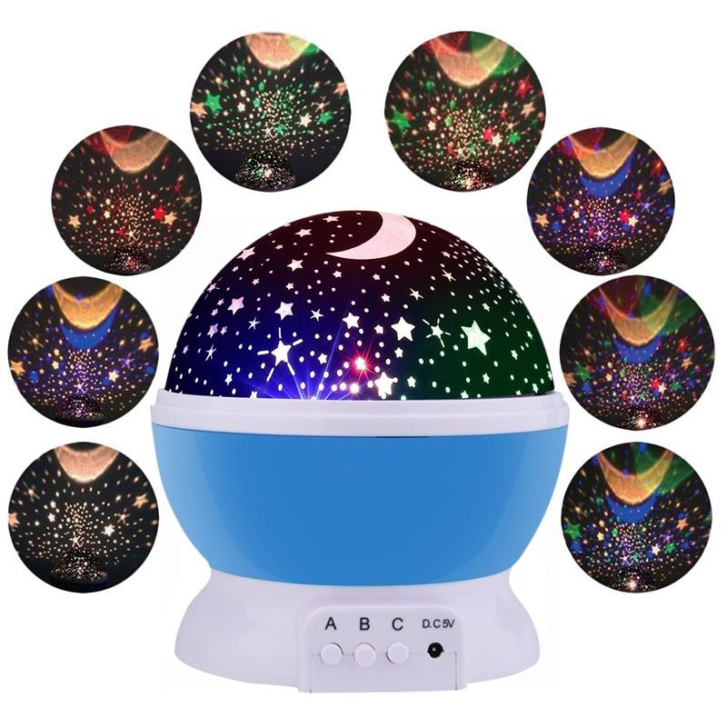 Giratoria LED Proyector de Estrellas de La Novedad Iluminación Luna Cielo Rotación Niños Bebé Vivero Noche Lámpara De Emergencia Luz de La Batería Operada