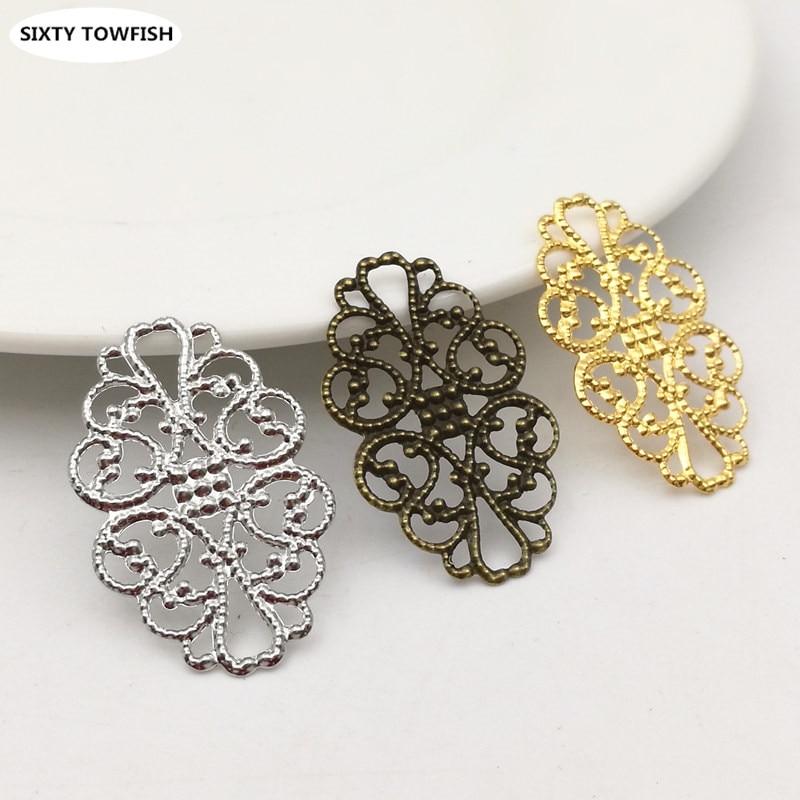 20pcs/lot 31mmx20mm Gold Color/White K/Antique Bronze Metal Filigree Flowers Slice Charms Pendant Setting DIY Components B20181