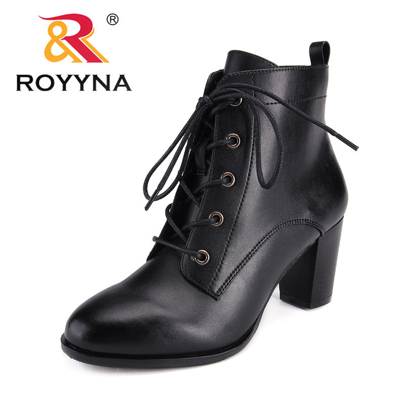 ROYYNA New Arrival Classics Style Women Boots Round Toe Women Winter Shoes Lace Up Lady Ankle