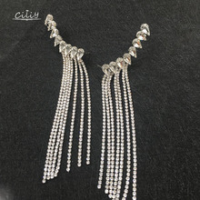 Ciliy Tassel Clip Earrings Connected All-in-one Temperament Long Fringed Ear for Girls