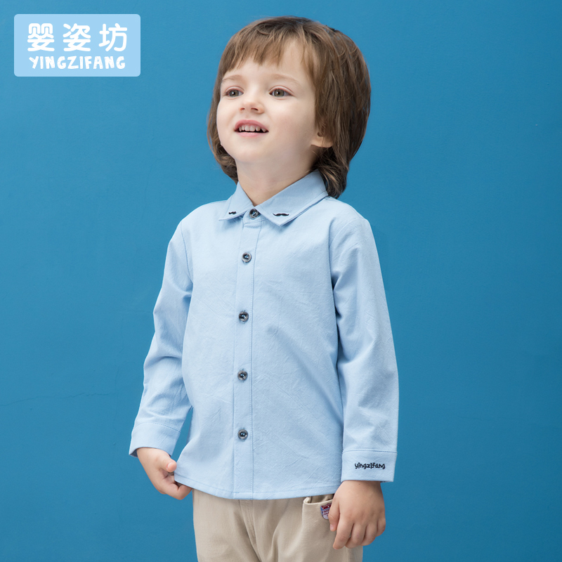 Carters Sale Roupas Infantis Menina Boys Shirts Yingzifang Boys Solid Colour Embroidered Sleeves Turn-down Collar Cotton Shirt