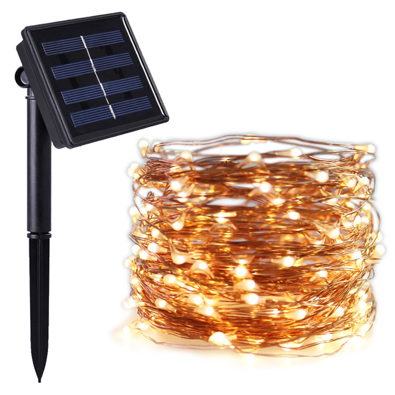 8 mode 100/200leds Led Solar Light Fairy Strip lamp 10m 20m Outdoor Waterproof Holiday Wedding,Christmas, New Year Decor String