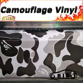 Jumbo Arctic Black White Camouflage Vinyl Car Wrap Sticker Film Car Styling Truck Motorcycle Bike Wrapping Decal Graphics