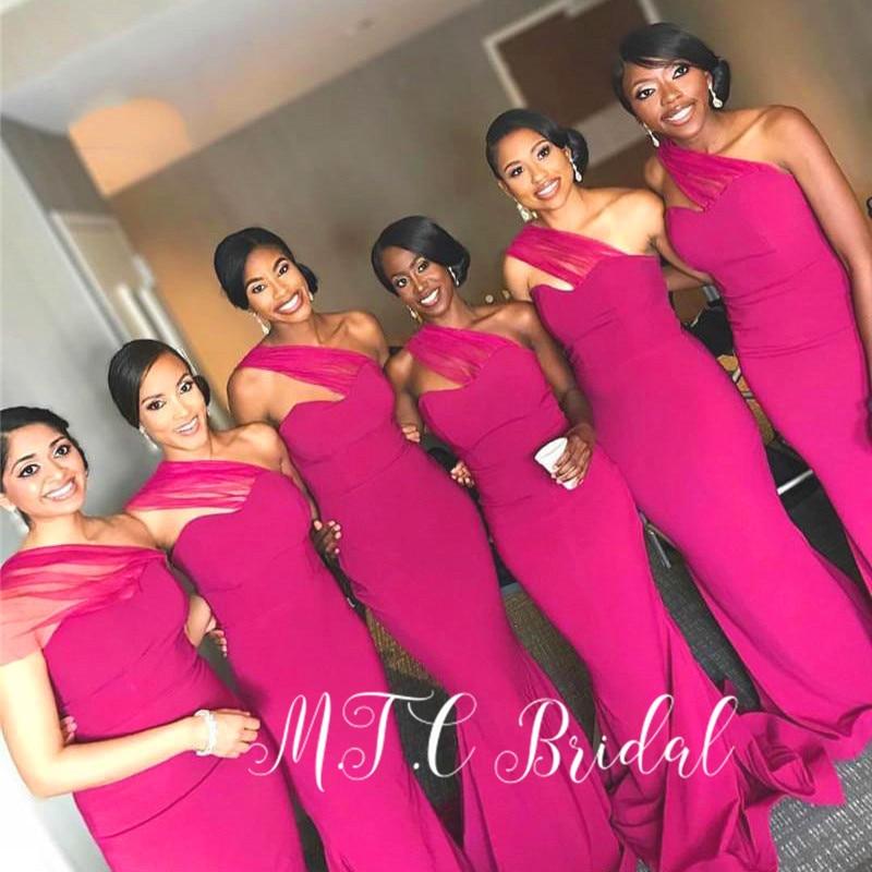 Fuchsia Wholesale African Bridesmaid Dresses 2019 One Shoulder Floor Length Elastic Satin Mermaid Maid Of Honor Dress Cheap