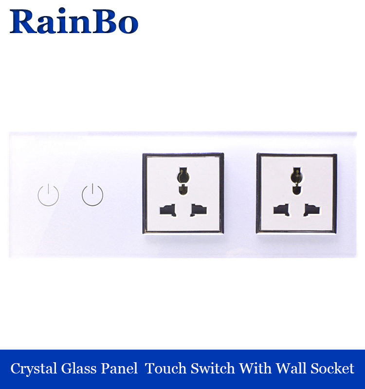 rainbo Crystal Glass Panel Electronic wall Switch touch control Screen  Light Switch white  Socket A39218MU8MUW smart home us black 1 gang touch switch screen wireless remote control wall light touch switch control with crystal glass panel