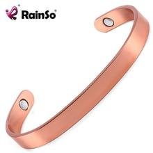 32bdbc2e18f Rainso Rose Gold cuff homens ímãs pulseira de cuidados de saúde magnética  pulseira de cobre puro pulseiras para homens OCB-006