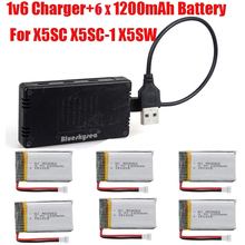 Blueskysea 6pcs 3.7V 1200mAh Lipo Battery+Charger for Syma X5SW X5SC X5SC-1 RC Quad Drone
