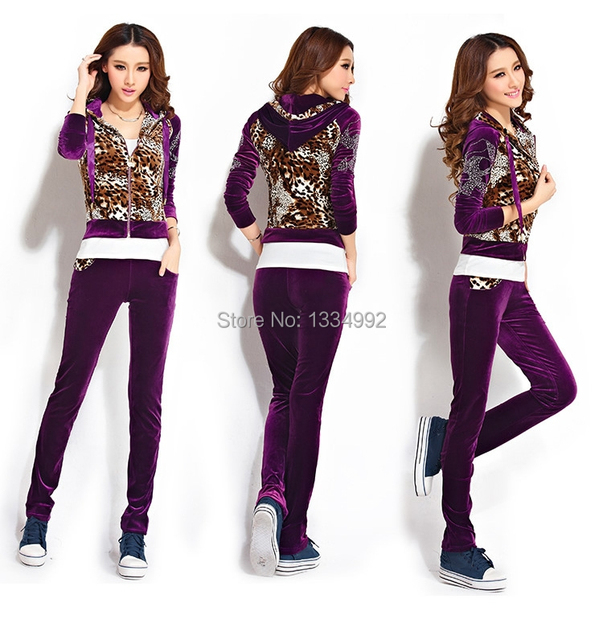 Modern Women Hoodies   Pants Full Set Sweatshirts Leopard Velvet Tracksuits  Velours Casual Suit fc6586ec47