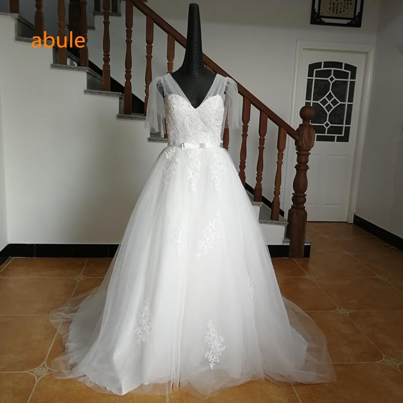 Vestido de novia abule v-neck lace up longitud del piso bordado de - Vestidos de novia