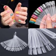 20/32/50pcs Nail Polish UV Gel Color Palette Card Display Fan Shaped Natural False Nail Tip Sticks Colored Practice Training hot selling false display nail art fan wheel polish practice tip sticks nail art 50pcs