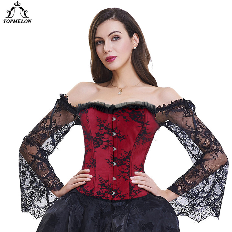 TOPMELON Steampunk   Corset     Bustier   Gothic Corselet   Corset   Women   Bustier   Long Sleeve Lace Floral Off Shoulder Sexy Party   Corset