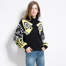 New 2017 High Women Ladies Cute Autumn Winter Luxury Spotted abstract jacquard Casual Sweaters Pullover High quality #E177
