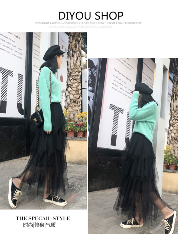 Women irregular Tulle Skirts Fashion Elastic High Waist Mesh Tutu Skirt Pleated Long Skirts Midi Skirt Saias Faldas Jupe Femmle 22