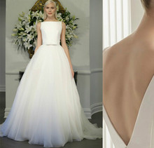 Customize! NEW 30CM Court train Boat neck Splice stain and Organza Wedding dresses V back ball gown wedding dresses