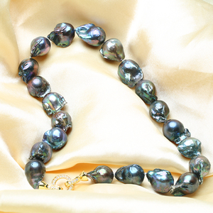 Image 3 - Real Huge Natural pearl black baroque pearl chain necklace choker long necklace 45/50/55 AAA for girl gift party  jewelry New