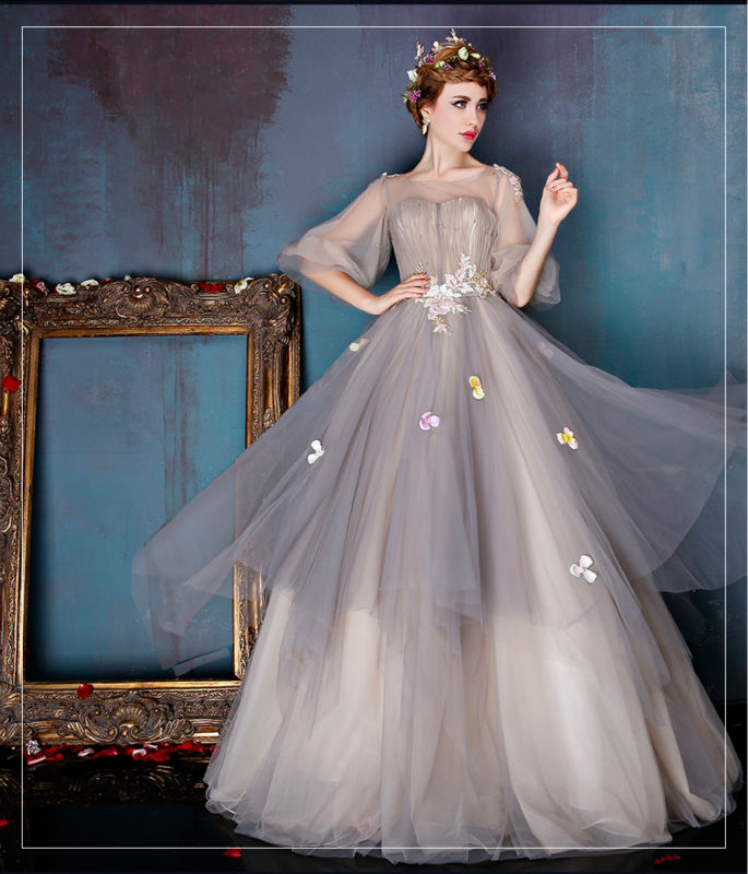 Popular grey wedding dresses buy cheap grey wedding for Light grey wedding dress