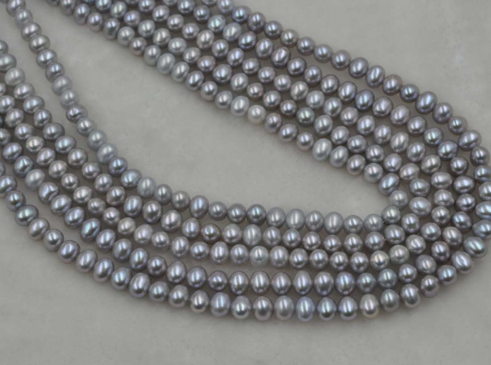 wholesale 5 strands 5.5-6*6.5-7mm gray freshwater potato pearl loose strings