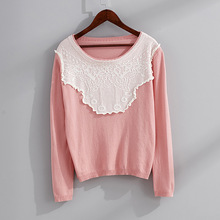 Women autumn new sweater sweet lace splicing pullover woman long sleeve round Neck pure cotton womens knitted jumpers pull femme