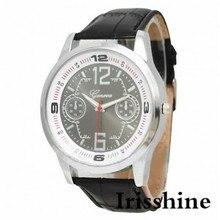 Irisshine i0691 Новый Дизайн Моды мужские часы черный искусственного кожаный ремешок Кварцевые часы мужские часы подарок