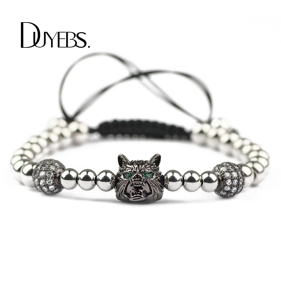 DUYEBS Wolf Head Charms Bracelet Men 56mm Stainless Steel Bead Zircon CZ Braided Rope Women Bangle Gun Black Color Fashion Gift