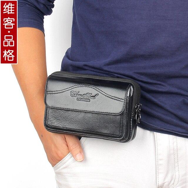 Cuero genuino de los hombres paquetes de la cintura con head capa de piel de vaca de alta calidad del teléfono móvil bolsos para hombres bolsos de la cintura