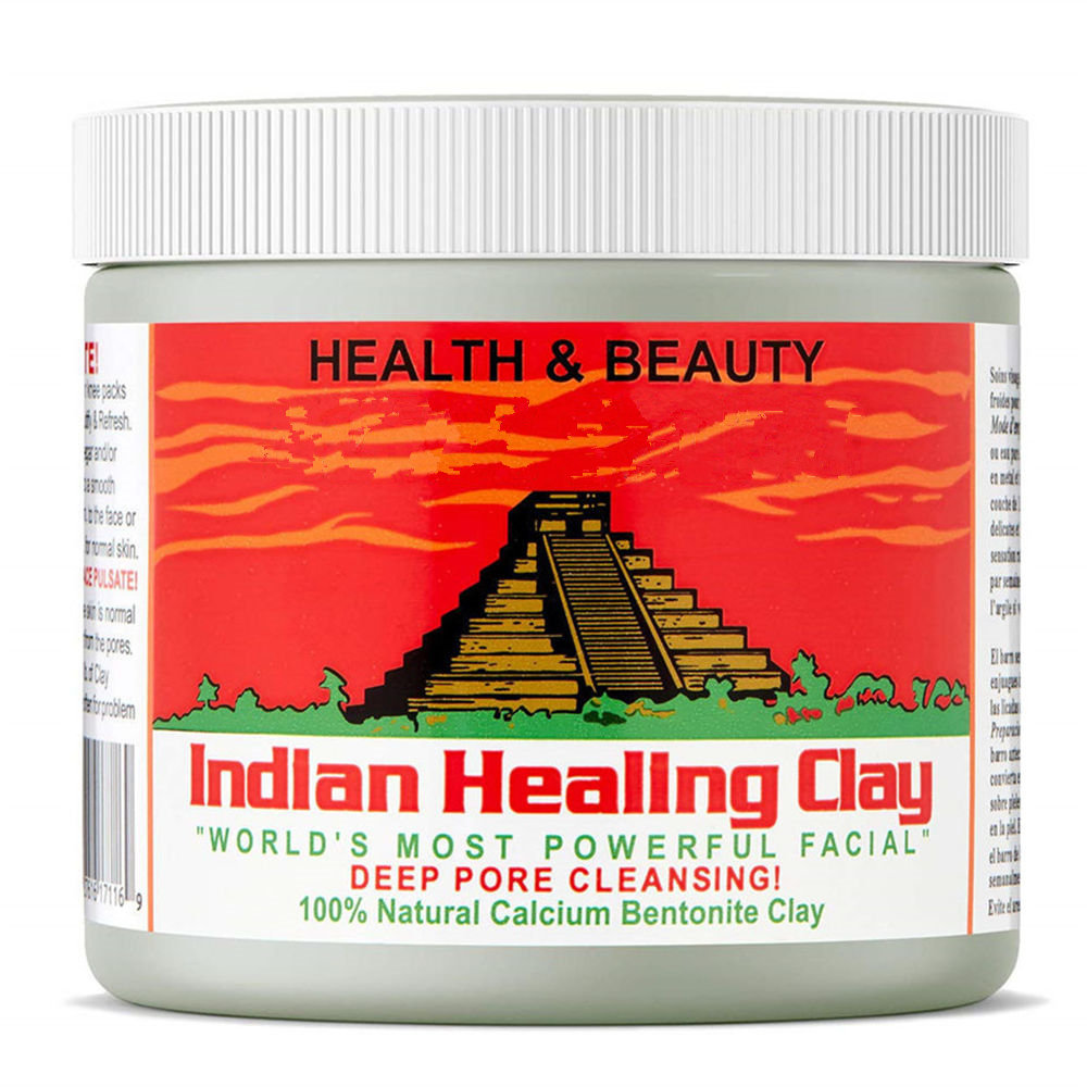 Indian Healing Clay Face Mask Skin Care Deep Blackhead Remover Pore Cleaner Facial & Body Mask(0.8 Pound)