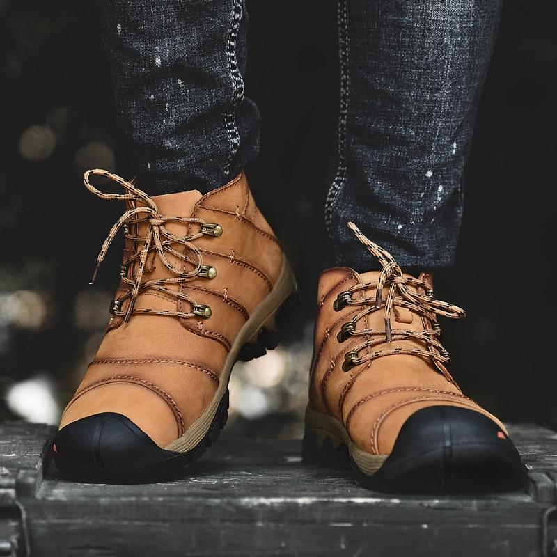 Hommes en cuir véritable coupe moyenne Sport de plein air randonnée chaussures taille 38-46 protéger pied pouce conception antidérapant tendances baskets