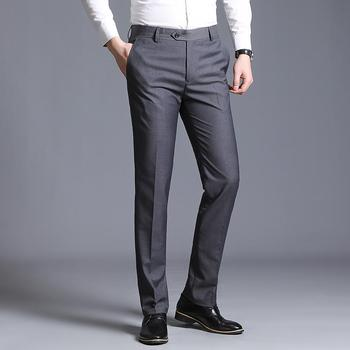 LOLDEAL New Mens Pants Straight Loose Casual Trousers Large Size Cotton Fashion Business Suit Green Brown Grey