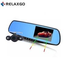 """Relaxgo 4.3 """"Full HD 1080 P Espelho de Carro DVR Dual Lens Frente E Para Trás câmera Para Visão Traseira Do Carro Espelho Câmera Do Carro DVR Gravador de Vídeo"""