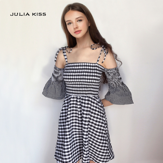 86b85676efb Women Bell Sleeve Checkered Mini Cami Dress Tie Cold Shoulder Gingham Print  Cami Dresses
