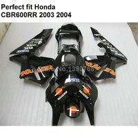 High quality ABS fairing for Honda black CBR 600RR 2003 2004 fairings kit CBR600RR F5 BM59