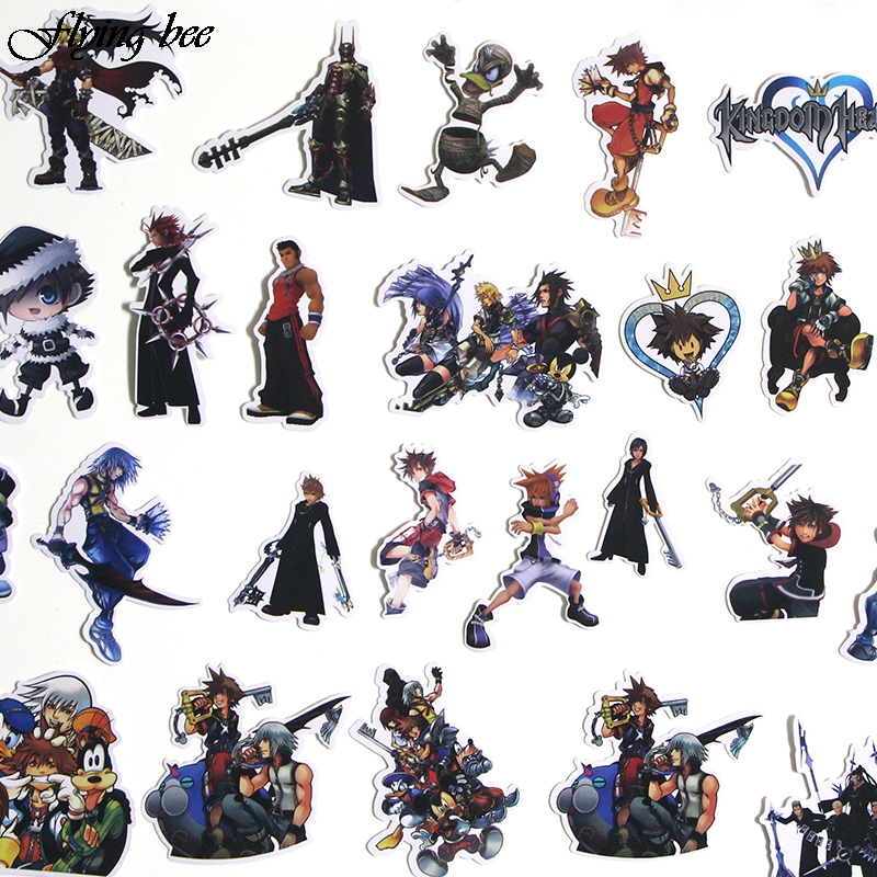 Image 4 - Flyingbee 50 Pcs Kingdom Hearts Waterproof Stickers Kids Toy Sticker for DIY Luggage Laptop Wall Car Phone Decoration X0038-in Stickers from Consumer Electronics