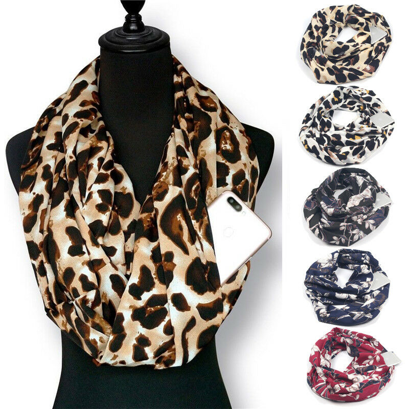 Fashion Women Scarf Winter Printed Ring Scarves Pocket Convertible Journey Infinity Scarf All-match