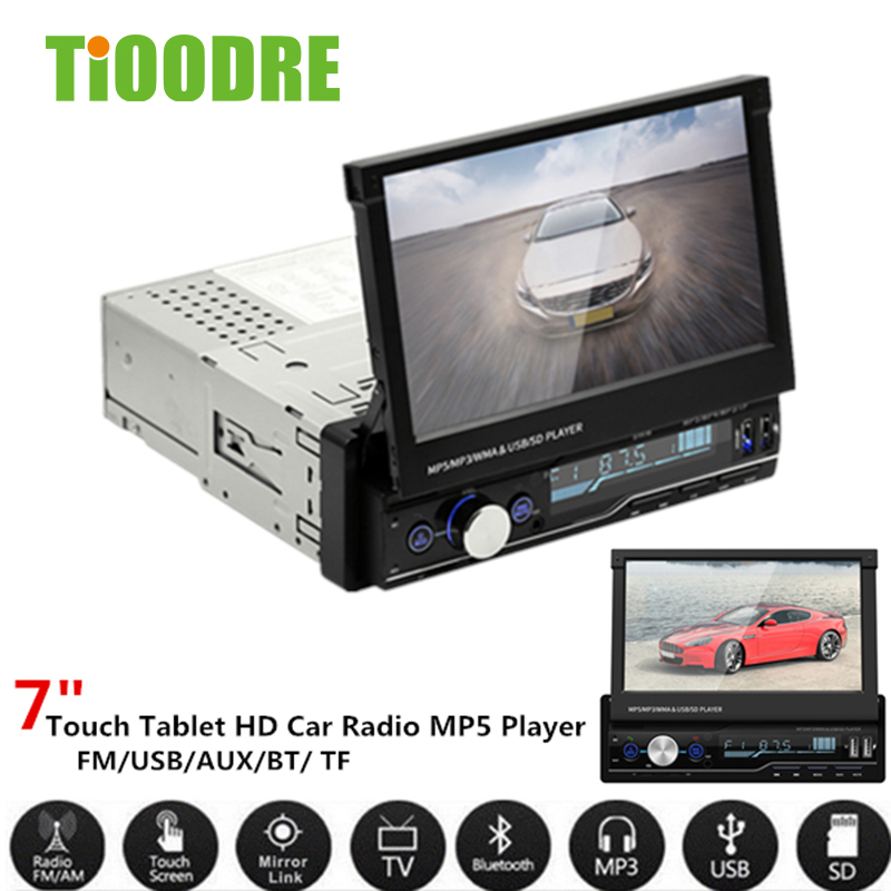 TiOODRE MP5 плеер 7 экран Bluetooth Handsfree автомобильный стерео радио FM USB AUX MP5 плеер gps двойной USB выдвижной складной