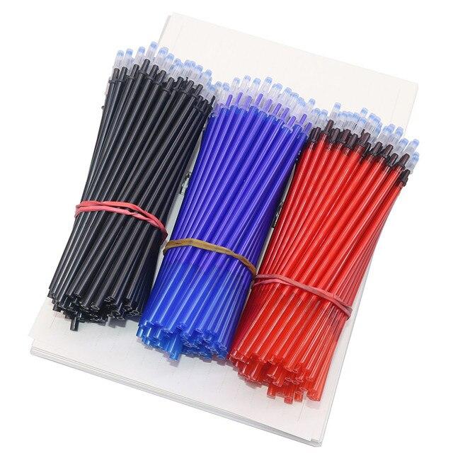 500 יח\סט משרד ג ל עט מחיק מילוי מוט קסם מחיק עט מילוי 0.5mm כחול שחור דיו כתיבה ספר כתיבה כלי מתנה