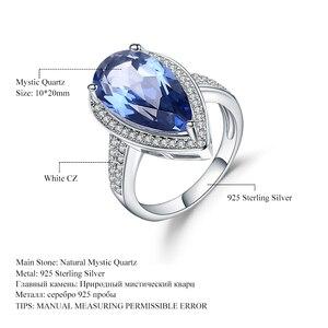 Image 5 - Mücevher bale 7.89Ct doğal Iolite mavi mistik kuvars yüzük 925 ayar gümüş taş su damlası yüzük kadın için ince takı