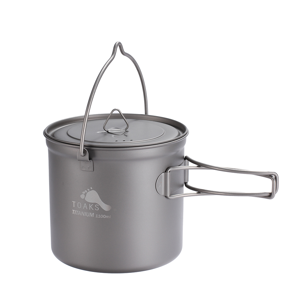 TOAKS Titanium Pot With Hang Foldable Handle For Outdoor Camping Cookware Picnic Hang Pot Ultralight 1100ml 1300ml 1600ml 2000ml toaks pot 1350 ultralight titanium 1350ml pot with bail handle outdoor camping tableware