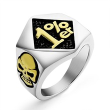 Vintage Punk 1% er Rings Motorcycle Biker Skull Silver Gold Color Ring for Men Stainless Steel Finger anillos Jewelry Gift
