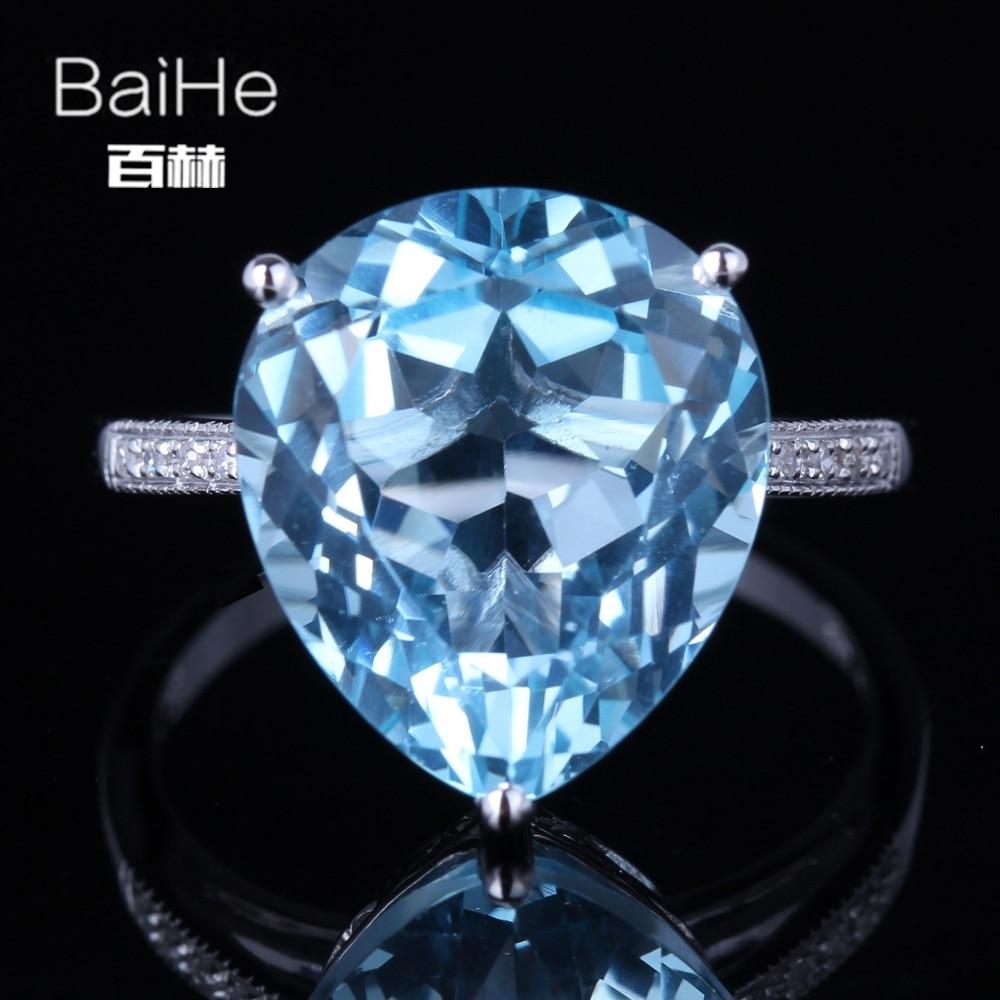 BAIHE Solid 14K White Gold(AU585)9.62CT Certified Sky Blue/Flawless Genuine Blue Topaz Wedding Women Trendy Fine Jewelry Ring