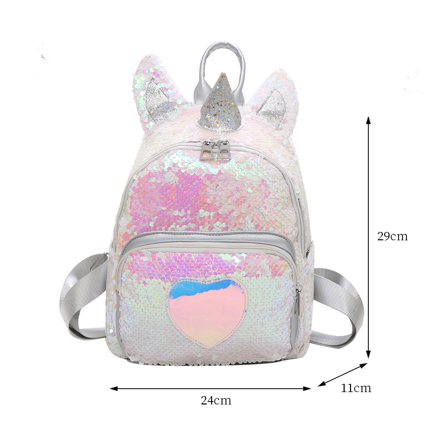 Cute Cartoon Unicorn Design Women Backpacks Fashion Sequin School Bags For Girls Teenage Student Bookbags Women Travel Back Pack in Backpacks from Luggage Bags