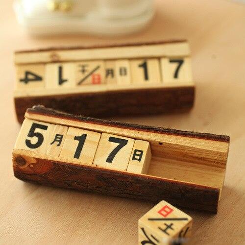 Wood Calendar Desk Zakka Vintage Antique Imitation Manually Small Calendar Daily Log Wooden Crafts 0193