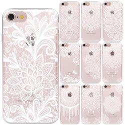 Белый мягкий ТПУ чехол с сексуальным кружевным цветком для iPhone 11 Pro, Max, X, XS, MAX, XR, 5, 6, 6S, 6, 7, 8 Plus, силиконовые чехлы с цветами мандалы