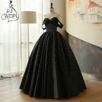 Elegant Black Ball Gown Evening Dress Sweetheart Off Shoulder Beading Formal Evening Gowns 2018 Arabic Long