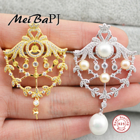 [MeibaPJ]Natural Pearl Luxurious Brooch S925 Solid Silver Corsage Ornaments Fine Workmanship Jewelry For women's Gift